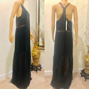 Jonathan Simkhai black silk maxi dress 8